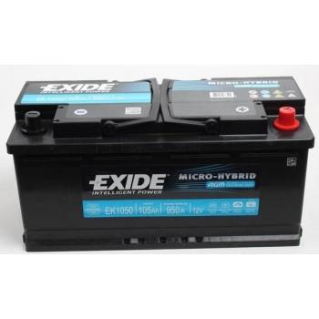 EXIDE AGM 12V 105AH START-STOP  AKKUMULÁTOR JOBB+ EK1050