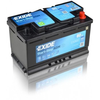 EXIDE AGM 12V 80AH START-STOP AKKUMULÁTOR JOBB+ EK800