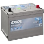 Exide Premium 75Ah 630A jobb+ Ázsia (EA754)